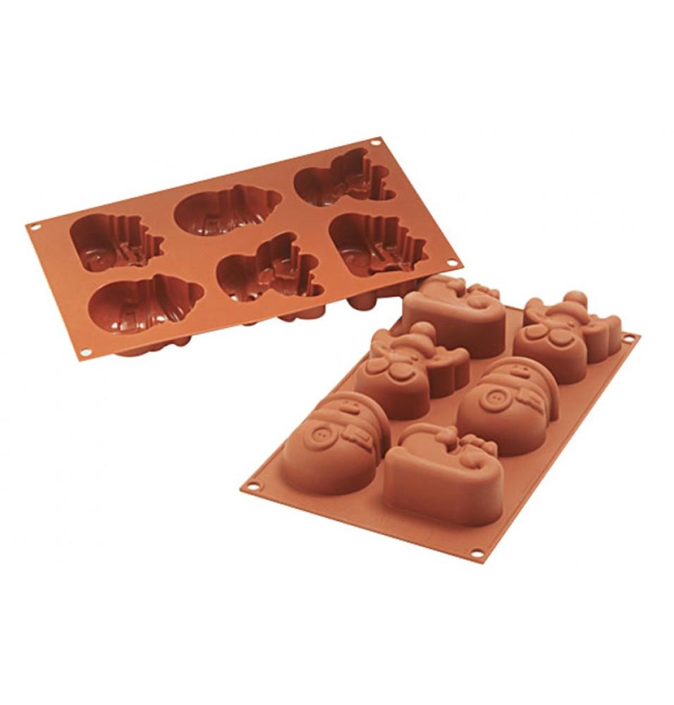 Forma din silicon pentru 6 prajituri Funny Christmas cu dimensiunile de 73x78.5mm